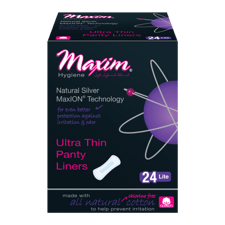 Maxim Hygiene Products MaxION Ultra Thin ライト パンティライナー 生理用紙 羽なし 24 枚