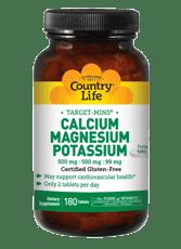 Country Life カルシウム&マグネシウム&カリウム 500mg : 500mg : 99 mg 180錠