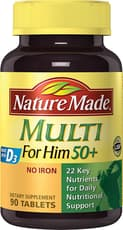 Nature Made Multi for Him 50+ with D3 No Iron 90 Tablets