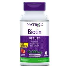 NATROL ビオチン 最大強度 ストロベリー味 10,000 mcg 60錠