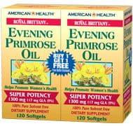 American Health イブニングプリムローズオイル 1,300 mg 2 ボトル 120+120 ソフトジェル