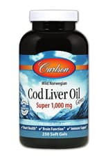 Carlson Labs Norwegian Cod Liver Oil Gems Super 1,000 mg 250 Softgels