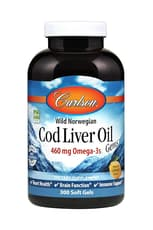 Carlson Labs Cod Liver Oil Gems Lemon 460 mg 300 Softgels
