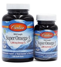 Carlson Labs Wild Caught Super Omega-3 Gems 1,200 mg 100+30 Soft Gels