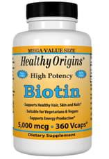 Healthy Origins ビオチン高効能 5,000 mcg 360 ベジカプセル