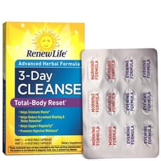 Renew Life 3 Day Cleanse Total Body Reset 12 Veg Capules (6 Day/6 Evening)