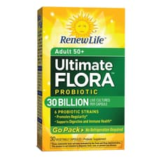 Renew Life Ultimate Flora Adult 50+ Probiotic Go Pack 30 Billion 30 Veg Capsules