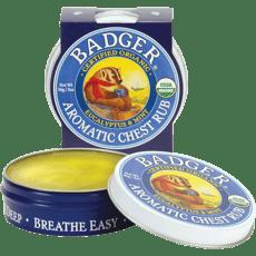 Badger オーガニックアロマチェストバーム、ユーカリ・アンド・ミント56 g
