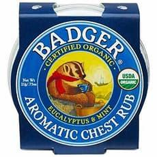 Badger オーガニックアロマチェストバーム、ユーカリ&ミントミニティーン21 g