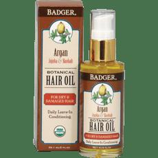 Badger アルガンボタニカルヘアオイル、ホホバ&バオバブ59.1 ml