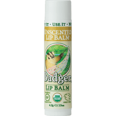 Badger Lip Balm Unscented 0.15 oz