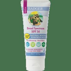 Badger アクティブナチュラルミネラル日焼け止めSPF 30、クリア亜鉛、無香87 ml