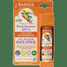 Badger フェイススティック、キッズジンクオキサイドサンスクリーンSPF 35、タンジェリン・バニラ18.4 g