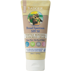 Badger Tinted Sunscreen Cream SPF 30 Unscented 2.9 fl oz