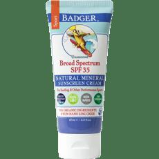 Badger スポーツナチュラルミネラル日焼け止めSPF 35、無香87 ml