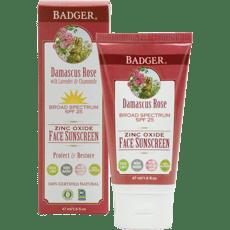 Badger Face フェイス日焼け止めSPF25、ダマスカスローズ 47 ml