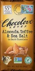CHOCOLOVE アーモンド、トフィー&シーソルト入りダークチョコレート 3.2 oz