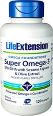 Life Extension スーパー オメガ3 EPA & DHA with ゴマリグナン & オリーブ果実エキス 120 ソフトジェル