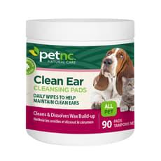 petnc Natural Care クリーンイヤークレンジングパッド、猫と犬用、90パッド