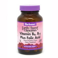 Bluebonnet Nutrition アーススウィートチュアブルビタミンB-6、B-12プラス葉酸ラズベリー 60チュアブル錠