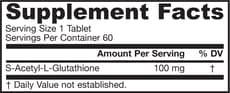 Jarrow Formulas S-アセチル L-グルタチオン 100 mg 60 錠
