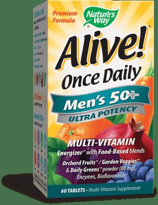 Nature's Way Alive! 一日一回, 50歳以上の男性に マルチビタミン 60錠