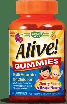 Nature's Way Alive! 子供用 マルチビタミン (チェリー,グレープ,オレンジ味) 90グミ
