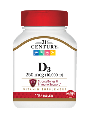 21st Century D3 ウルトラストレングス 10,000 IU 110錠