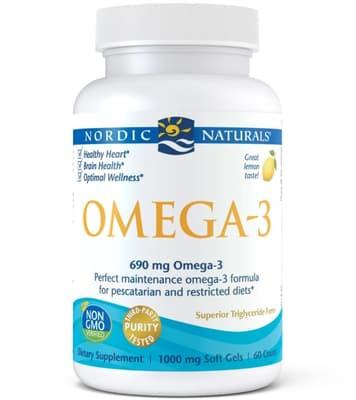 Nordic Naturals オメガ3 1,000 mg 60フィッシュ ジェル
