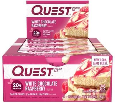Quest Nutrition クエストバー プロテインバー ホワイトチョコレートラズベリー 12 個入り