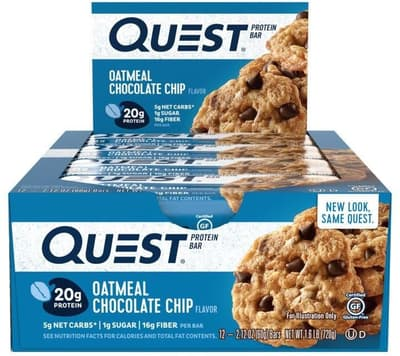 Quest Nutrition クエストバープロテインバー オートミールチョコチップ味 12個入り
