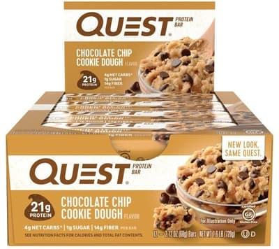 Quest Nutrition クエストバー プロテインバー チョコレートチップクッキードウ 12 個