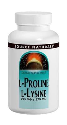 Source Naturals L-プロリン/ L-リジン 275 mg 120 錠